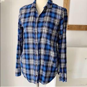 boy shirt in navy weekend plaid